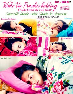 """Wake Up Frankie bedding featured in the Cimorelli music video """"Made in America"""""""
