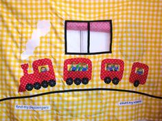 Pattern for Toddlers Train panel for indoor playhouse that fits over your table and is filled with educational entertainment.