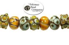 Handmade lampworked glass beads.  Potomac Bead Company, Medina Ohio