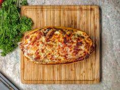 Chicken Parm Stuffed Spaghetti Squash RECIPE: Ingredients: Large Spaghetti Squash 2 Boneless Skinless Chicken Breasts /cut into strips 2 Eggs /beaten Flour I...