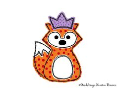 Prinzessin Rene :) Rene Fuchs mit Krone doodle Stickdatei. Little princess, so cute! Doodle fox appliqué embroidery file for embroidery machines.