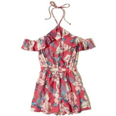 Hollister Ruffle Cold Shoulder Romper (54 AUD) ❤ liked on Polyvore featuring jumpsuits, rompers, red floral, floral print romper, halter romper, white floral romper, cold shoulder romper and red romper