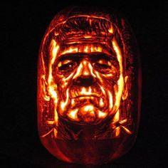 Frankenstein carved on a HUGE Funkin tall Giant. Dremel Pumpkin Carving, Pumpkin Carvings, Dremel Projects, Foam Pumpkins, Carving Designs, Holidays And Events, Stencils, Crafts For Kids, Frankenstein