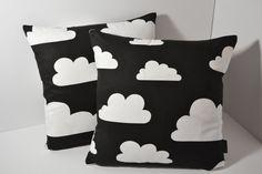 Scandinavian Swedish Farg & Form fabric Kids cushion cover - Black and White Monochrome Clouds