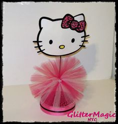 1 Hello Kitty PINK Leopard Centerpiece / Hello by GlitterMagic23s, $15.00