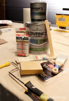 Great tips for painting cabinets with Benjamin Moore Advance paint.