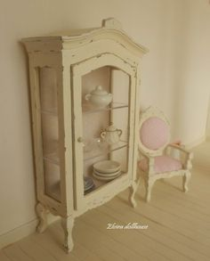 Shabby Chic Dollhouse Miniatures | Shabby Chic French Cabinet, Dollhouse Miniature Handmade, 1:12 Scale ...