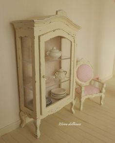 Shabby Chic Dollhouse Miniatures | Shabby Chic French Cabinet, Dollhouse Miniature Handmade, 1:12 Scale ...