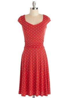 Ready, Wheeling, and Able Dress in Red Dots. Being the cycling enthusiast that you are, your local bike shop has nominated you to host their upcoming charity event - and youve got the perfect dress for it! #red #modcloth