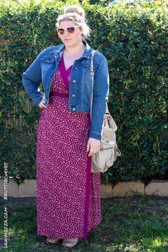 Aussie Curves Danimezza Plus Size Outfit Fashion Blogger Sydney Igigi Naples Maxi  Wrap Dress Denim Plus Size Fashion - Plus Size Outfit