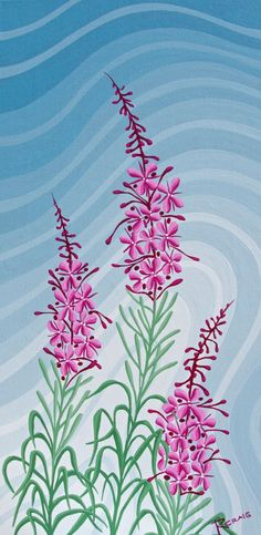 Northern Fireweed 2 by Robbie Craig — a piece I'd love to get sometime. One Stroke Painting, Dot Painting, Fabric Painting, Skull Crafts, Paint Photography, Canadian Art, Aboriginal Art, Flower Cards, Bellisima