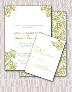 Green and golden yellow Printable Wedding by CharmedPaperie, $39.00