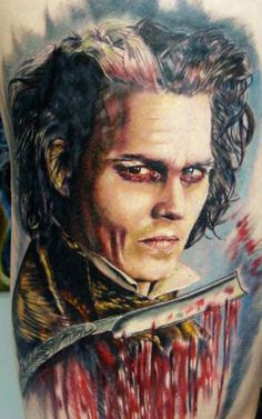 Johnny Depp color portrait tattoo by Ron 570 from Wilkes Barre, PA. 3d Tattoos, Badass Tattoos, Great Tattoos, Portrait Tattoos, Tatoos, Fandom Tattoos, Horror Tattoos, Movie Tattoos, Gorgeous Tattoos