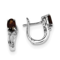 Sterling Silver Rhodium Plated Diamond Garnet Hinged Earrings QE9955GA