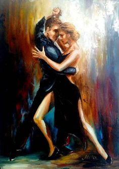 Original Oil Painting  Last Tango  Passion Dance  Love