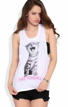 Deb Shops Twist Back Tunic Tank with I Hate Mondays Cat Screen $12.00