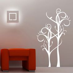 Adesivo decorativo de parede - arabesco floral, árvore.