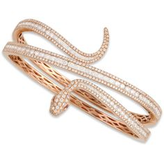Roberto Coin 18k Rose Gold Diamond Snake Bangle (1,028,250 THB) ❤ liked on Polyvore featuring jewelry, bracelets, accessories, rings, jewels, rose gold bangle, hinged cuff bracelet, diamond bracelet bangle, wide bangle bracelet and rose gold cuff bracelet