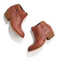 I love the strap detail on the back // H by Hudson™ Rosse Buckle-Back Ankle Boots from Madewell