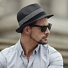 Fashion striped panama hat for men package black straw sun hats 757dec7626a