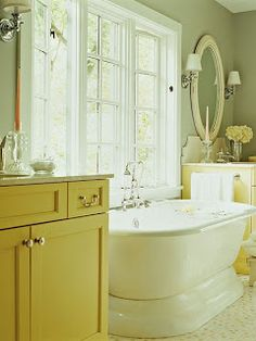 Faded White Linen: Hint From Nature - Yellow & Green like the color scheme-dream bathroom with the French Doors by the tub, would have to be half window doors because Dave's house is right there.