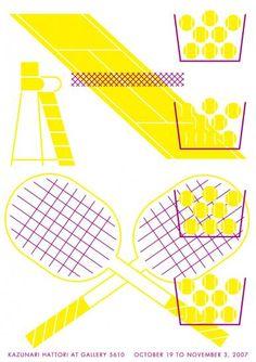 服部一成展「視覚伝達」展示作品 ポスター[スポーツ/テニス] - Shop5610