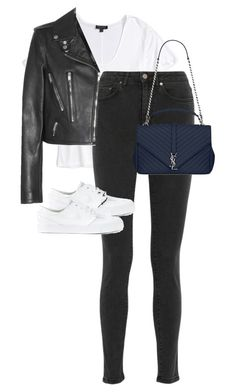 """Untitled #12808"" by alexsrogers ❤ liked on Polyvore featuring Topshop, Acne Studios, Yves Saint Laurent and NIKE"