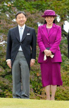 Crown Prince Naruhito and Crown Princess Masako attend the Autumn Garden Party at the Akasaka Imperial Gardens on November 12, 2015 in Tokyo, Japan.