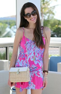 Lilly Pulitzer, Capri Pink Samba, Lilly Pulitzer Dusk Romper, Stephanie Ziajka, Diary of a Debutante Prep Outfits, Prep Style, Summer Romper, Rompers Women, Lilly Pulitzer, Casual Summer, Samba, Dusk, Capri