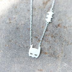 Batman Mask Necklace / choose your color / gold and by laonato, $16.00
