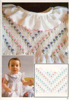 I Love Patchwork: Point smock Smocking from Amo El Patchwork Smocking Baby, Smocking Plates, Smocking Patterns, Embroidery Patterns, Cross Stitch Embroidery, Hand Embroidery, Punto Smok, Smocked Baby Dresses, Smocking Tutorial