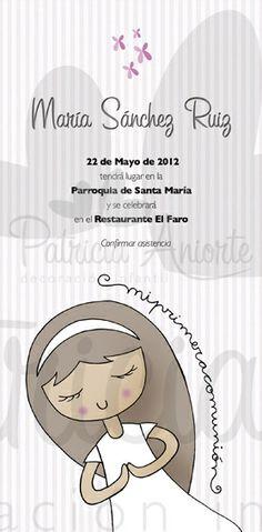 Invitación de Comunión con original ilustración.