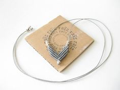 CHEVRON Necklace Minimalist Macramé Modern & Dainty Elegant Geometric Grey Necklace ~ Classy Casual - Adjustable Pendant ~ Design by raiz