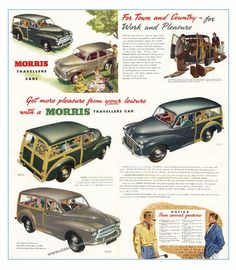 Classic Morris Minor Traveller poster reproduced from the original 1953 brochure Classic Cars British, Ford Classic Cars, British Car, Morris Minor, Vintage Advertisements, Vintage Ads, Vintage Cameras, Morris Traveller, Morris Oxford