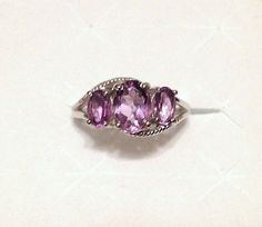 Rose De France Amethyst Ring 3 Stone in Sterling Silver (Size 7.25) 2.00 ctw. #ThreeStone