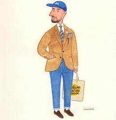 Over the years, one of the recurring themes at Ivy Style has been the lost art of menswear illustration. From JC Leyendecker's Harvard jocks of the teens and to Esquire and Apparel… Mens Fashion Blazer, Dope Fashion, Fashion Art, Ivy League Style, Ivy Style, Men's Style, Preppy Boys, Elegant Man, Sartorialist