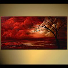 Red Gorgeous Landscape Painting Clouds Sunset por OsnatFineArt