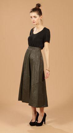 vintage olive leather midi skirt
