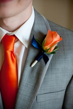 Rose Boutonniere, with blue ribbon - would want in peach/blush/cream