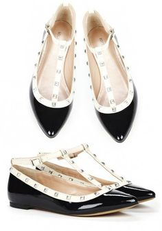 Adorable alternative to black flats! Studded T-Strap, Pointy Toe Flats #fashion #black_and_white #wedding #office #casual #dressy #outfit #accessory