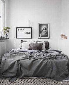 Minimalist Home Design Tiny Houses minimalist bedroom decor colour.Minimalist Home Design Kitchen White minimalist bedroom ikea minimalism. Gray Bedroom, Home Decor Bedroom, Modern Bedroom, Bedroom Ideas, Winter Bedroom, Bedroom Designs, Master Bedrooms, Calm Bedroom, Bedroom Inspiration