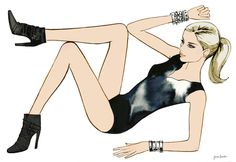 Portfolio of fashion illustrator Jason Brooks. He specialises in advertising illustrations for the worlds leading fashion and beauty brands. Metal Fashion, Fashion Art, Ballet Fashion, Jason Brooks, Blonde Fashion, Pop Art Illustration, Balerina, Girl House, Blonde Women