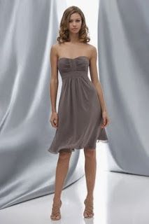 Scoop chiffon bridesmaid dress with empire waist - great color to mix with a brighter Maid of Honor dress -- your Wedding Party will definitely wear this again! Cute Wedding Dress, Fall Wedding Dresses, Colored Wedding Dresses, Bridal Dresses, Dream Wedding, Wedding Stuff, Wedding Ideas, Yellow Wedding, Classic Bridesmaids Dresses
