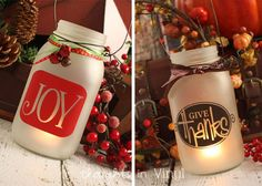 Love these! What a great idea for Christmas time!! Frosted Mason Jar Lanterns with Holiday Decals
