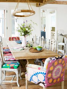 colorful dining table and chairs