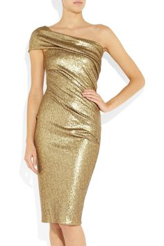 Donna Karansequined stretch-tulle one-shoulder dress~~~~ There's also a floor-length version in silver.