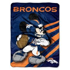 NFL Denver Broncos Mickey Mouse Ultra Plush Micro Super Soft Raschel Throw Blanket by Northwest. $19.99. Co-Branded Licesned Graphics. 100% Polyester. Measures 46-Inches-by-60-Inches. Full Printed Graphics. Disney/NFL Denver Broncos Mickey Ultra Plush 46-Inch-by-60-Inch Micro Super Soft Raschel Throw, by The Northwest Company