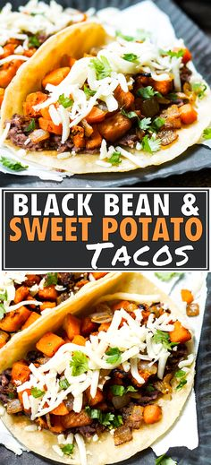 These Black Bean & Sweet Potato Tacos are gluten free and vegetarian. They make a great breakfast, lunch or dinner taco recipe. Vegan Dinners, Healthy Dinner Recipes, Vegan Recipes, Potato Recipes, Healthy Meals For Two, Sweets Recipes, Healthy Corn, Healthy Tacos, Sweet Potato Tacos