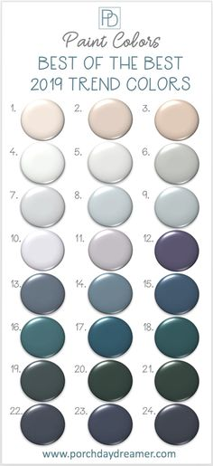 2019 Paint Colors Best of the Best Picks 2019 Color of the Year from all of the major paint manufacturers. 132 paint color options that I've narrowed down to the 24 best colors this year. Find a new paint color for your next room makeover! Kitchen Paint Colors, Paint Colors For Home, House Colors, Paint Colors For Bedrooms, Paint Colours, Trending Paint Colors, Best Color For Kitchen, Colors For Walls, Paint Colors For Furniture