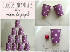 3 Juegos infantiles con vasos de papel/ Kids games with paper cups www.manualidadesytendencias.com #reciclaje #juguetes #diy